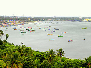 Fishing in India - Fishing boats at Tangasseri coast of Kollam city, Kerala.
