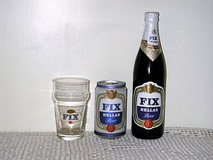 Fix (beer) - FIX Hellas beer in 2008: Bottle, can, and glass.