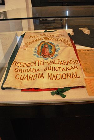 Cristero War - A banner from a group of Cristero supporters at the Centro de Estudios Cristeros in Encarnación de Díaz, Jalisco.