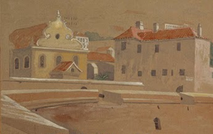 Solomon Abudarham - Flemish Synagogue (l) and Bomb House (r), now the Gibraltar Museum