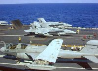 Flight operations on the deck of USS Abraham Lincoln.