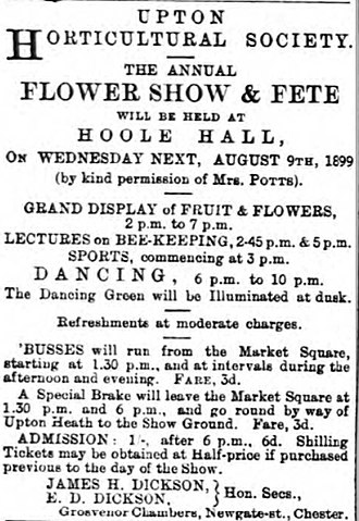 Hoole Hall - Flower show notice at Hoole Hall in 1899