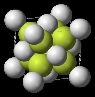 Calcium fluoride - Image: Fluorite unit cell 3D ionic