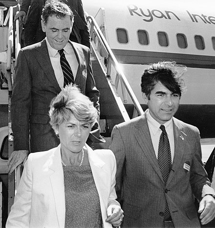 Governor Dukakis with Boston Mayor Raymond Flynn and Democratic vice-presidential nominee Geraldine Ferraro campaigning in the 1984 presidential election. Flynn, Ferraro, and Dukakis.jpg