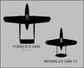 Fokker D.XXIII and Moskalev SAM-13 silhouettes.png