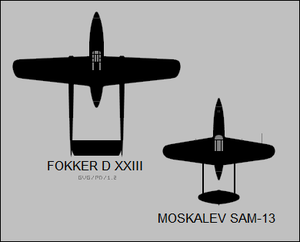 Fokker D.XXIII and Moskalev SAM-13 silhouettes.png