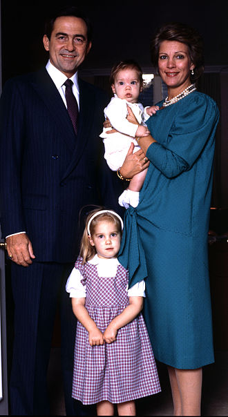 Constantine II of Greece - Constantine and his wife with their youngest children, Theodora and Philippos, by Allan Warren