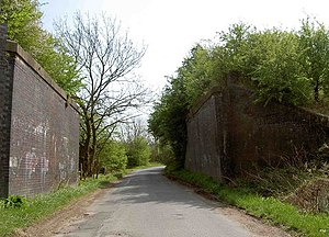 Hull and Barnsley and Great Central Joint Railway - Remains of a bridge of the line between Laughton Junction and Ravenfield near Thurcroft