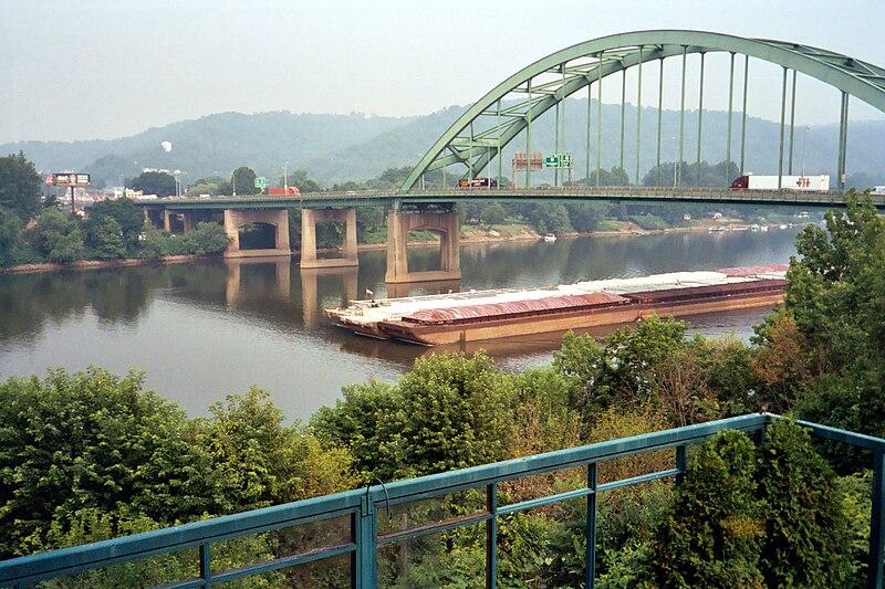 Fort Henry Bridge looking towards Ohio, in Wheeling, West Virginia - 20040706.jpg