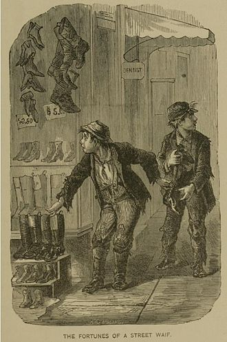 Theft - Two young waifs steal a fine pair of boots.