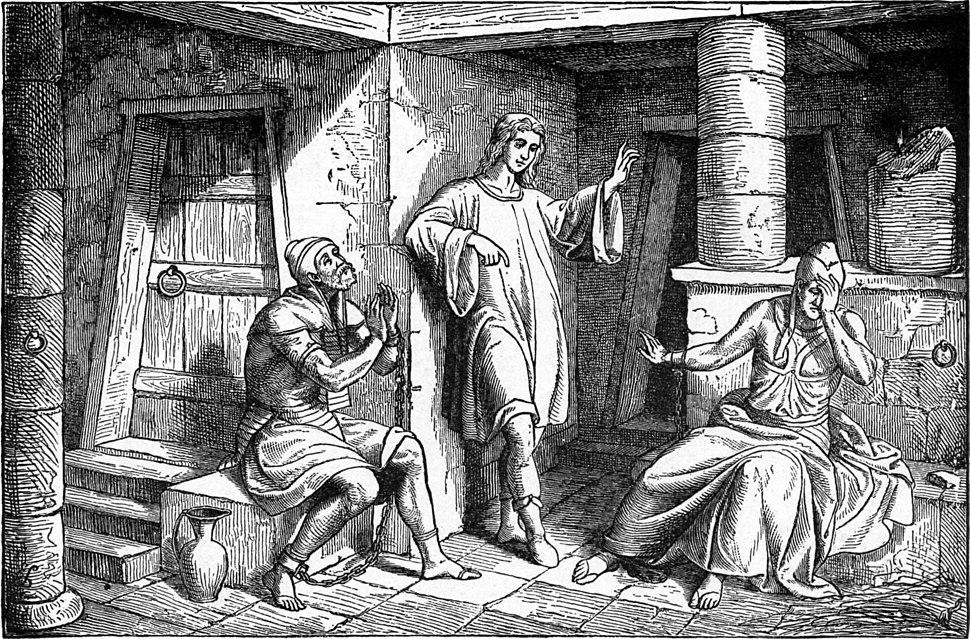 Foster Bible Pictures 0051-1 Joseph Interprets the Prisoners' Dreams