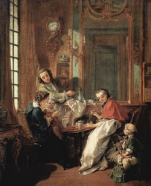 Rococo - François Boucher, Le Déjeuner, (1739, Louvre), shows a rocaille interior of a French bourgeois family in the 18th century. The porcelain statuette and vase add a touch of chinoiserie.