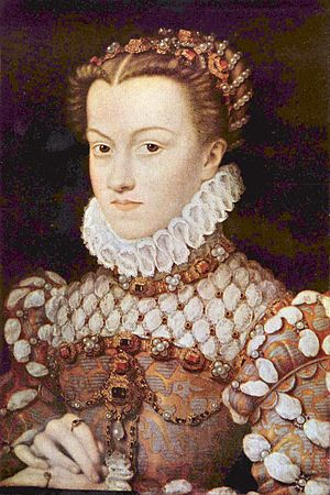 1571 in art - Clouet – Elisabeth of Austria, Queen of France, The Louvre, 1571