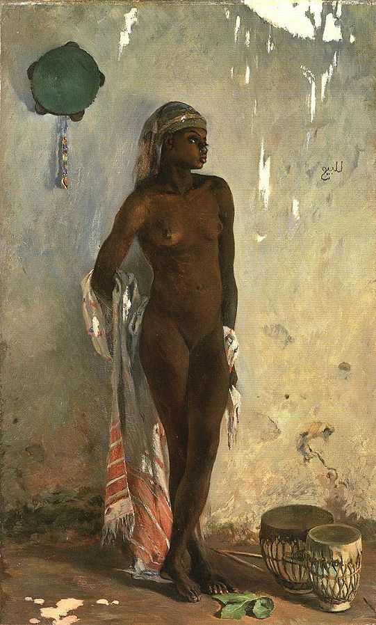 Nude female slave with tambourin