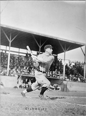 Frank Gilhooley - Frank Gilhooley, while with the New York Yankees, swings his bat at home plate.