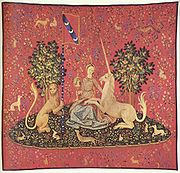 Tapestry, Maiden with Unicorn, 15th century,(Musée de Cluny, Paris)