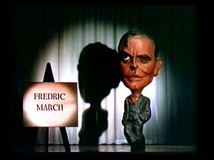 Motion picture credits - Screenshot of a figure representing Fredric March from the opening credits of the film Nothing Sacred