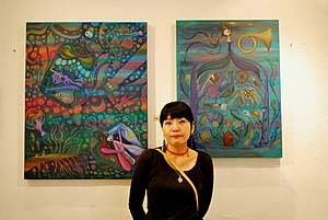 Japanese community of Mexico City - Japanese artist Fumiko Nakashima with two of her works at the Garros Galería in Mexico City