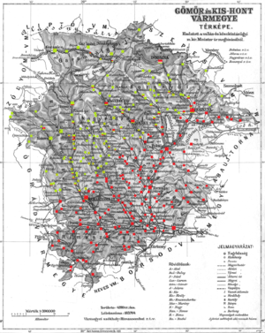 Gömör és Kishont County - Ethnic map of the county with data of the 1910 census (see the key in the description).