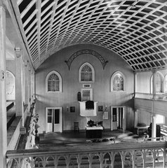 GENERAL INTERIOR VIEW OF NAVE, TAKEN FROM WEST BALCONY, SHOWING PULPIT AND ALTAR - Moravian Church, Friedensfeld, St. Croix, VI HABS VI,1-FRIE,1-5.tif