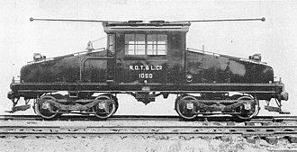 Steeplecab - A GE steeplecab electric locomotive.  This example is fitted with trolley poles for service on an interurban railroad.