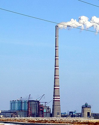 Chimney - The world's tallest chimney, of the GRES-2 power plant in Ekibastuz, Kazakhstan, stands 419.7 m (1,377 ft) tall.
