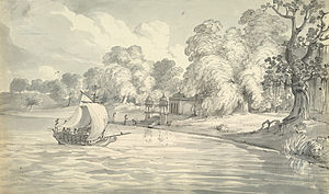 Kara, Uttar Pradesh - Pen-and-ink and wash drawing of the Ganges below the town of Kara, 1803