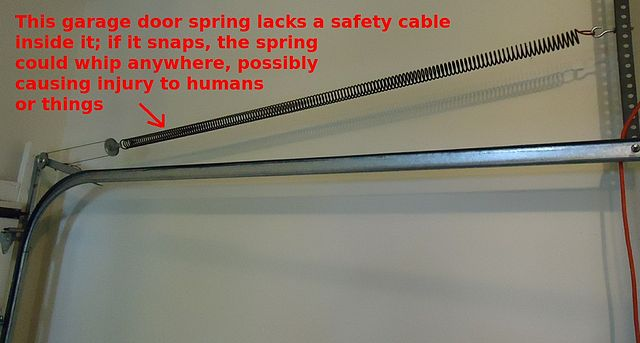 File Garage Door Spring Needs A Safety Cable Through It