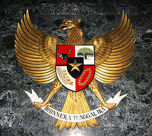 The statue of Garuda Pancasila, the coat of ar...