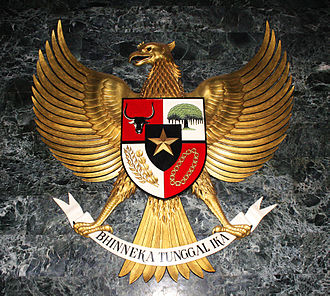 National emblem of Indonesia - The statue of Garuda Pancasila displayed in the Ruang Kemerdekaan (Independence Room) at the National Monument (Monas), Jakarta.