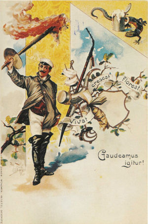 "Carpe diem - An 1898 German postcard, quoting ""Gaudeamus igitur"""