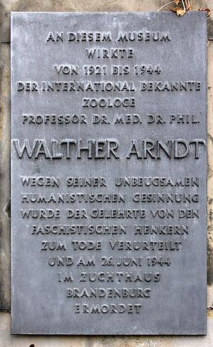 Walter Arndt - Memorial plaque, Walther Arndt, Invalidenstraße 43, Berlin-Mitte