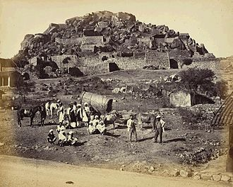 Chitradurga Fort - Image: General view inside Fort, with Europeans and party posed in foreground, Chitradurga