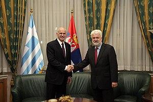 Mirko Cvetković - Mirko Cvetković with Greek Prime Minister George Papandreou.