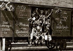 "History of Germany during World War I - German soldiers on the way to the front in 1914. A message on the freight car spells out ""Trip to Paris""; early in the war, all sides expected the conflict to be a short one."