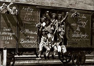 World War I - German soldiers in a railway goods wagon on the way to the front in 1914. Early in the war, all sides expected the conflict to be a short one.