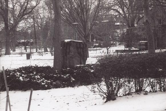 Clark Park - The Gettysburg Stone, a monument to the 60,000 Union soldiers treated at Satterlee Hospital, on whose southern tip the stone was placed in 1916.