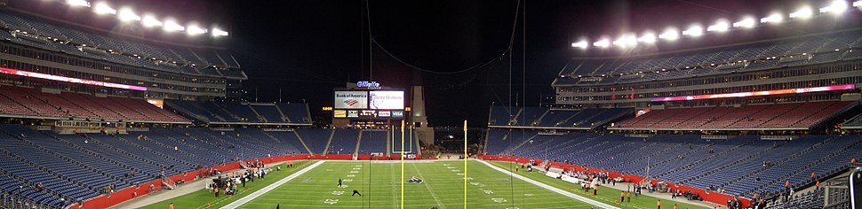 Panorama of Gillette Stadium, taken from the south end, in 2007. The video screen has since been replaced with a larger one.