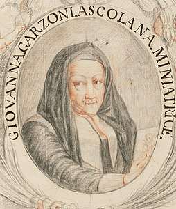 Giovanna Garzoni self-portrait from Piante varie Harvard 45883317 cropped.jpg