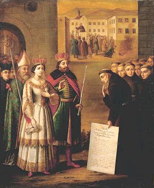 Elizabeth of Austria (1436–1505) - Elizabeth and her husband, Casimir IV of Poland, meeting Saint John of Capistrano
