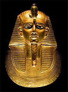 Gold burial mask of King Psusennes I, discovered in 1940 by Pierre Montet