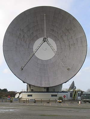 Space segment - A large parabolic antenna in a satellite Earth station