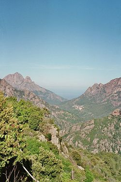 A view of the rugged landscape of Corsica