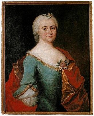 Johann Christoph Gottsched - Die Gottschedin, his first wife, Luise Adelgunde Victorie Gottsched (born Kulmus) in an oil portrait by Elias Gottlob Haußmann c.1750