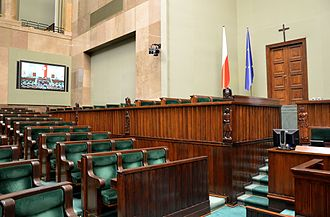 Council of Ministers (Poland) - The Polish cabinet sits in the elevated government seating box (center) during sessions of the Sejm.