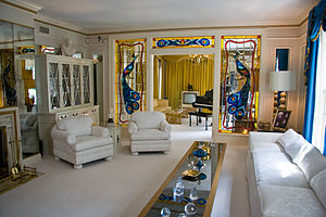 The living room inside Elvis Presley's mansion...