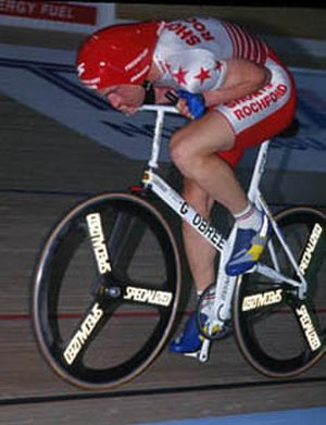 """The Flying Scotsman (2006 film) - Graeme Obree on """"Old Faithful"""", his home-made bicycle."""