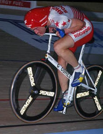 "The Flying Scotsman (2006 film) - Graeme Obree on ""Old Faithful"", his home-made bicycle."