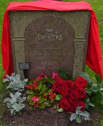 Anton Nilson - The grave of Anton Nilson and his wife decorated on the 100th anniversary of the Amalthea bombing