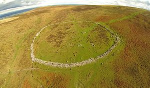 Hut circle - Grimspound on Dartmoor, a late Bronze Age settlement